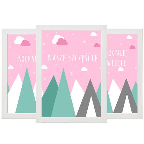 Tryptyk - 3 plakaty - Różowe góry  (1)